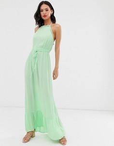 Зеленое платье макси с кружевной отделкой Miss Selfridge-Желтый