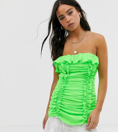 Платье-бандо со сборками и оборками Wild Honey-Зеленый