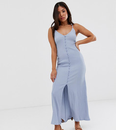 Платье макси на пуговицах эксклюзивно для ASOS DESIGN Petite-Синий