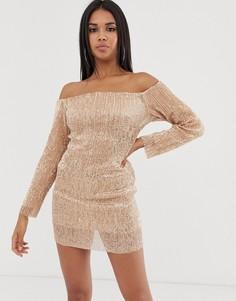 Платье мини цвета розового золота с длинными рукавами, пайетками и открытыми плечами Club L London-Золотой
