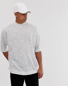 Трикотажная oversize-футболка с высоким воротом ASOS DESIGN-Белый