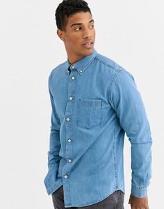 Голубая джинсовая рубашка с карманом Selected Homme-Синий