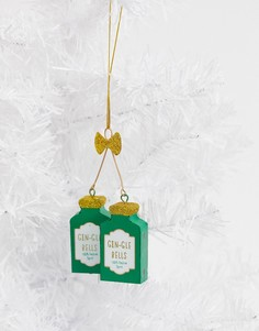 Новогоднее елочное украшение в форме бутылки с джином Sass & Belle gin-gle bells-Мульти