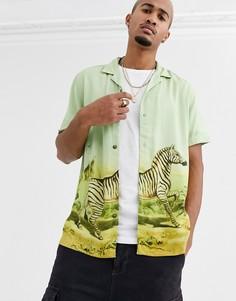 """Зеленая рубашка с короткими рукавами и принтом \зебра\"""" ASOS DESIGN-Зеленый"""