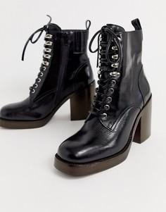 Кожаные ботинки на каблуке со шнуровкой Jeffrey Campbell Dotti-Черный
