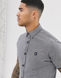 Серая рубашка из пике с короткими рукавами Jack & Jones Core-Серый