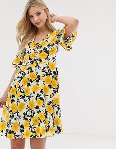Чайное платье с цветочным принтом Y.A.S-Мульти