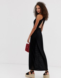 Полупрозрачное платье макси с перекрученной отделкой на спине ASOS DESIGN-Черный