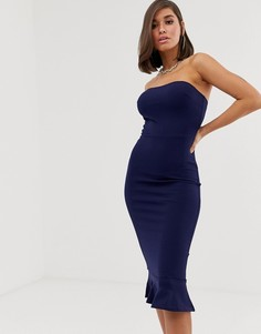Платье-бандо миди с подолом годе Club L London-Темно-синий