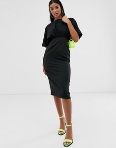 Платье-футляр миди с рукавами-кимоно ASOS DESIGN-Черный