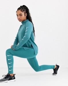 Сине-зеленые леггинсы с логотипом-галочкой Nike Running-Синий
