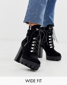 Ботинки на массивном каблуке RAID Wide Fit London-Черный