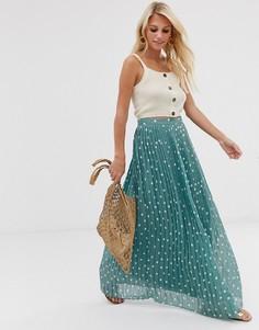 Плиссированная юбка макси в горошек Vila-Синий