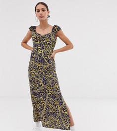 Платье миди с вырезом в форме сердца и леопардовым принтом эксклюзивно от Vintage Supply-Коричневый