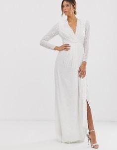 Свадебное платье с пайетками и глубоким вырезом ASOS EDITION-Белый