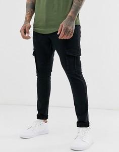 Черные джинсы с карманами в стиле милитари Brave Soul-Черный
