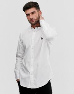 Белая оксфордская строгая рубашка с длинными рукавами и логотипом в виде зебры PS Paul Smith-Белый