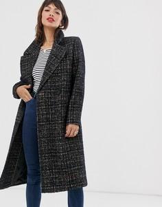 Удлиненное пальто в клетку Esprit-Коричневый