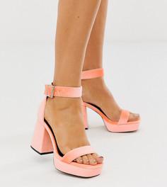 Туфли персикового цвета для широкой стопы на толстой платформе и блочном каблуке ASOS DESIGN - Witty-Оранжевый