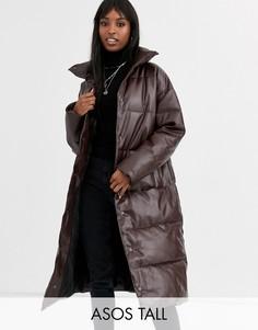 Дутое пальто из искусственной кожи шоколадного цвета ASOS DESIGN Tall-Коричневый