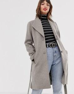 Серое пальто с запахом Esprit-Фиолетовый