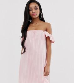 Розовое платье в полоску с открытыми плечами Missguided Petite-Мульти