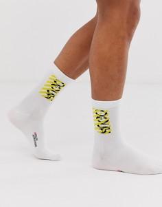 Белые носки с логотипом HUGO Destructed-Белый
