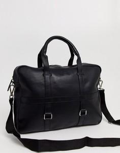 Черная сумка-сэтчел с металлическими кольцами ASOS DESIGN-Черный