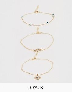 Набор из 3 золотистых браслетов ASOS DESIGN-Золотой