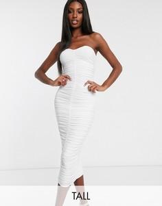 Белое платье-бандо миди Club L London Tall-Белый