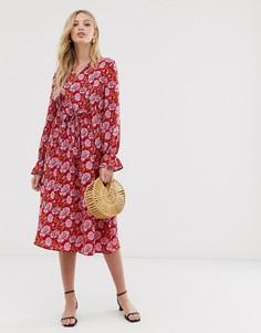 Свободное платье с длинными рукавами и цветочным принтом Y.A.S-Розовый