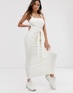 Платье макси в рубчик с поясом ASOS DESIGN-Белый