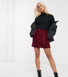 Вельветовая юбка-трапеция мини с карманами в стиле милитари и поясом ASOS DESIGN Petite-Мульти