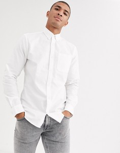 Оксфордская рубашка с логотипом на груди Jack & Jones Essentials-Белый