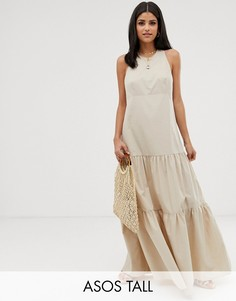 Свободное ярусное платье макси со спиной-борцовкой ASOS DESIGN Tall-Кремовый