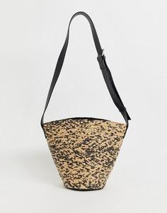 Соломенная сумка-мешок с кожаным ремешком & Other Stories-Бежевый