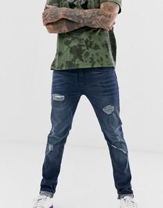 Супероблегающие джинсы с рваной отделкой Ringspun-Серый