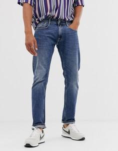 Выбеленные прямые джинсы с суженными книзу штанинами Replay Rob-Синий