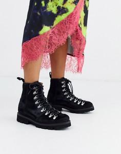 Походные ботинки с ворсом пони Grenson Nanette-Черный