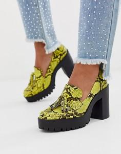 Желтые туфли на толстой платформе со змеиным рисунком London Rebel-Желтый