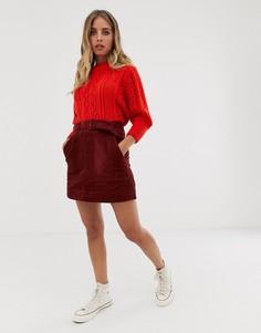 Вельветовая юбка-трапеция мини с карманами и поясом ASOS DESIGN-Мульти