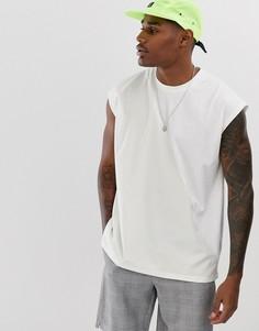 Белая oversize-футболка без рукавов ASOS DESIGN-Белый