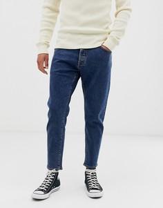 Синие джинсы свободного укороченного кроя Selected Homme-Синий