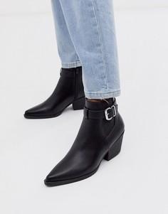 Черные ботинки челси на каблуке с пряжкой New Look-Черный