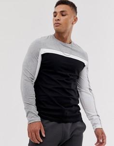 Черная футболка с длинным рукавом и вставками колор блок ASOS DESIGN-Черный