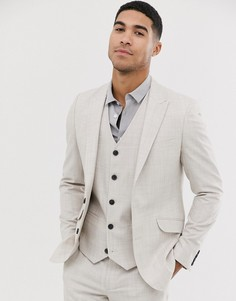 Свадебный облегающий сероватый пиджак со штрихованным узором ASOS DESIGN-Бежевый