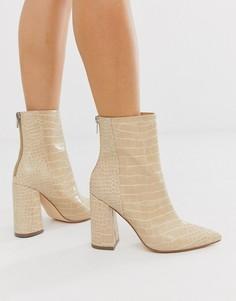 Ботинки на блочном каблуке, с острым носком и эффектом крокодиловой кожи London Rebel-Бежевый