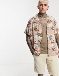 Свободная рубашка с короткими рукавами и геометрическим цветочным принтом ASOS DESIGN-Красный