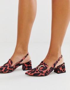 Розовые лоферы на среднем каблуке с леопардовым принтом и ремешком через пятку ASOS DESIGN - Saffy-Розовый