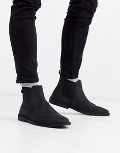 Черные кожаные ботинки челси Farah-Черный
